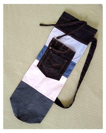 Uma Ecobolsa para tapete de YOGA. Feitas em jeans RECICLADO, super resistente.