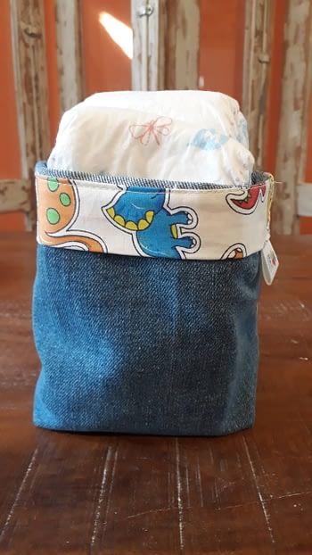 Cestinho Organizador Jeans Reciclado 1